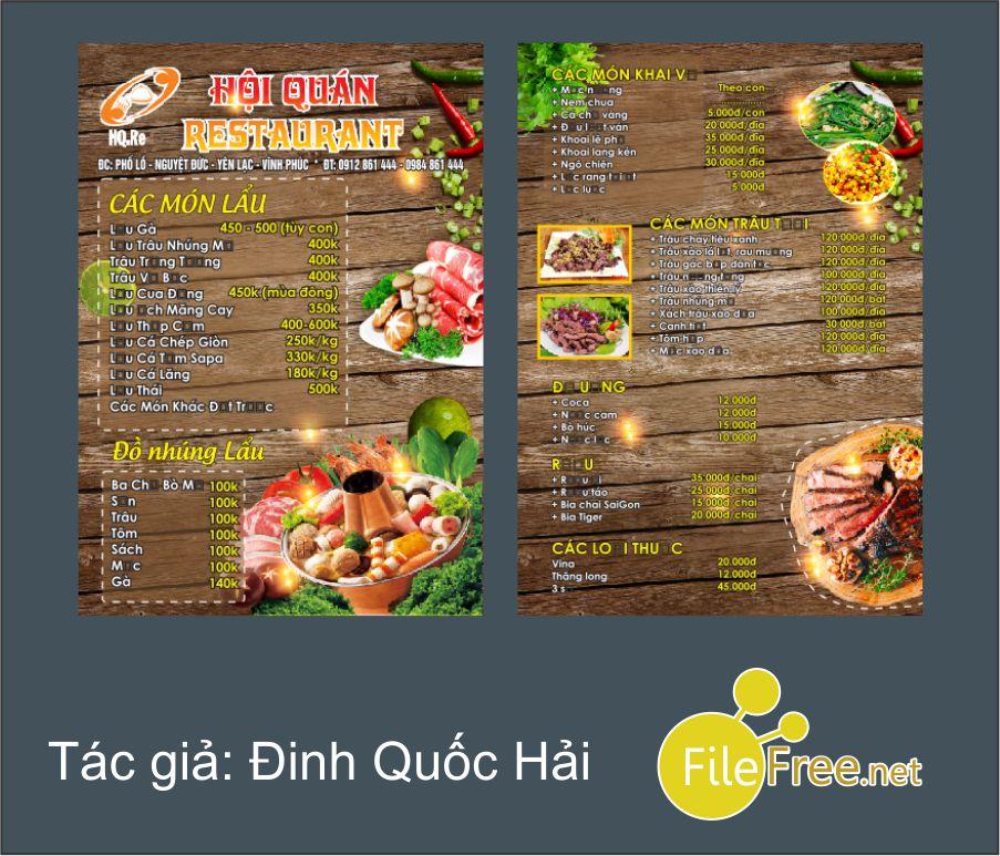 Tải file corel thiết kế menu miễn phí