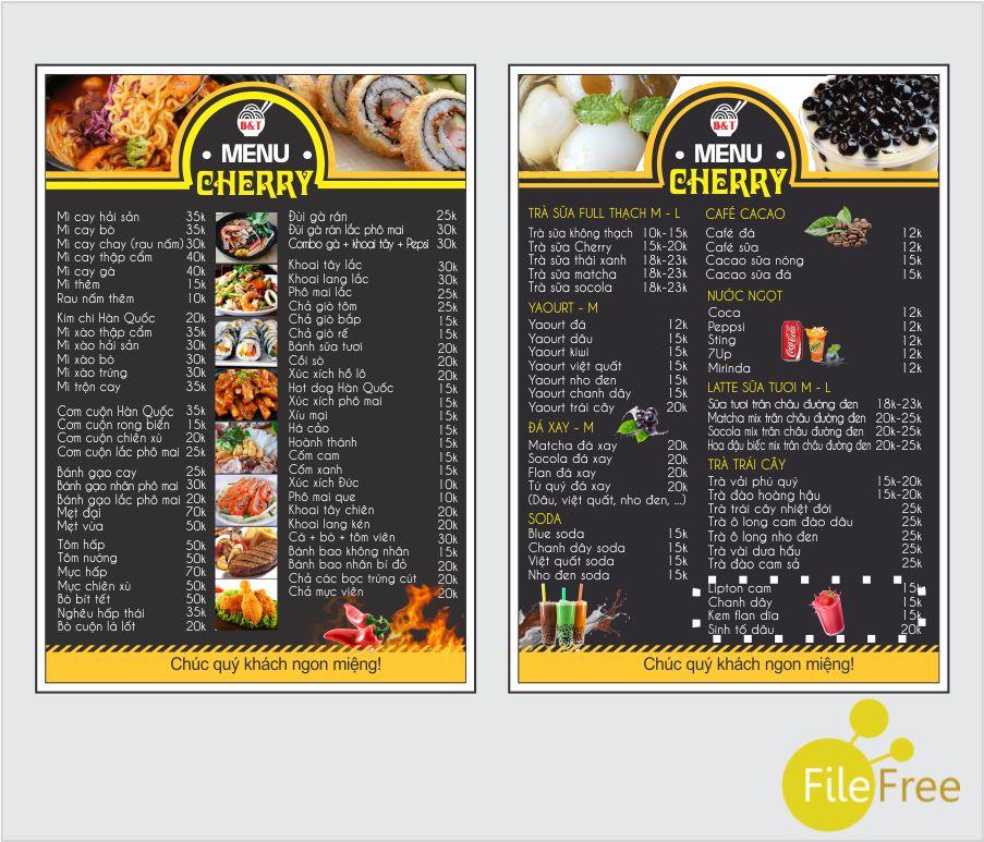 Tải file thiết kế menu file corel