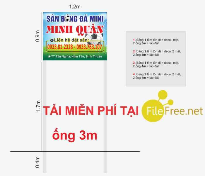 Bảng hiệu đứng sân bóng đá mini file corel và market báo giá