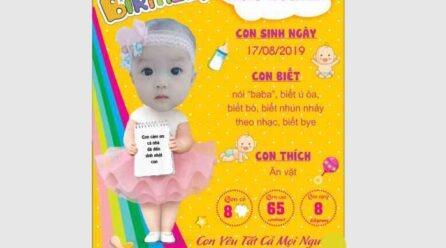 Bảng thông tin sinh nhật bé gái (chalkboard) file corel miễn phí