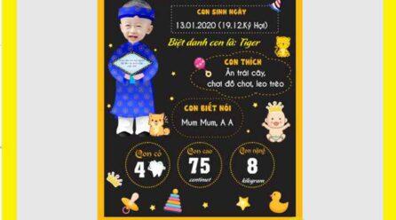 Bảng thông tin sinh nhật bé trai (chalkboard) file corel miễn phí