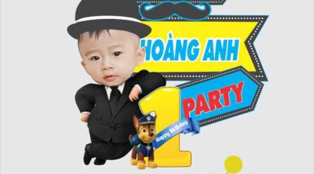 Bảng tên chibi sinh nhật bé trai siêu cute file corel miễn phí