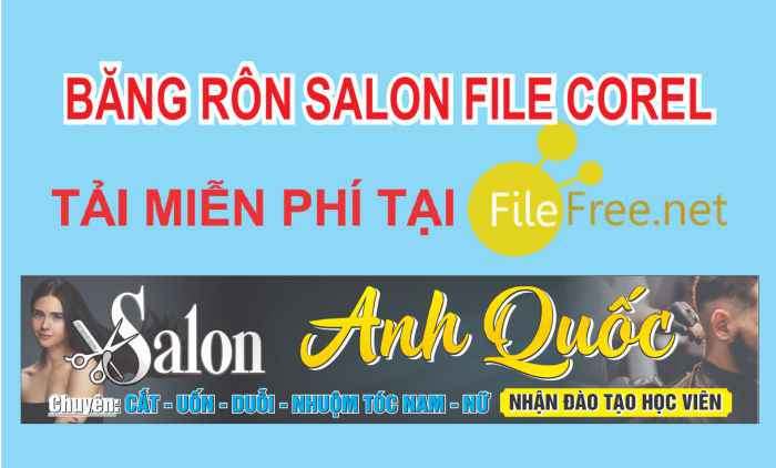 Băng rôn salon tóc nam nữ file corel tải miễn phí