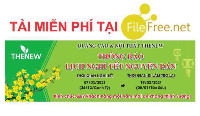 Băng rôn lịch nghỉ tết Tân Sửu file corel vector free