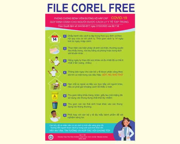 """Poster """"quy định cho người cách ly"""" file vector corel free"""