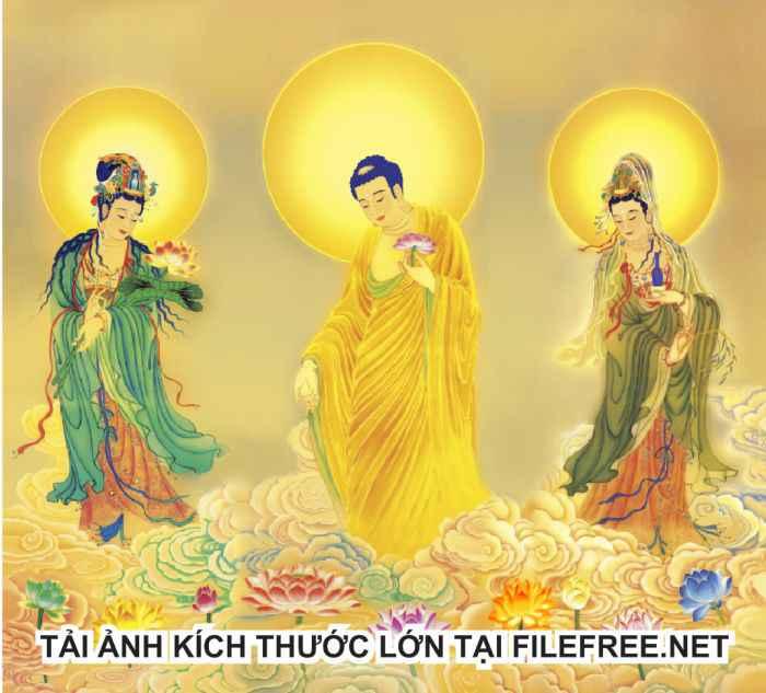 Ảnh Phật Tây Phương Tam Thánh kích thước lớn in ấn