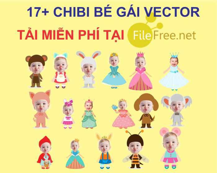 Chibi sinh nhật bé gái vector corel miễn phí